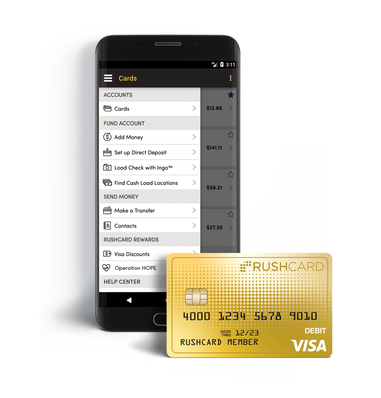 RushCard Prepaid Visa and Mobile App
